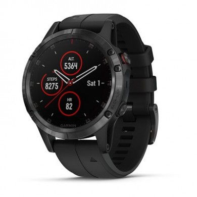 """GARMIN fenix 5 Plus Sapphire Black with Black, Multisport GPS Watch for Sport, 1.2"""",Water rating 10ATM, Battery life Smart mode: Up to 2 weeks, 16GB, GPS, Compass, Bluetooth, Smart, ANT+, Wifi, Smart notifications and Activity Tracking Features, 86g"""