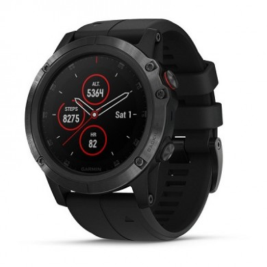 """GARMIN fenix 5X Plus Sapphire Black with black band, Multisport GPS Watch for Sport, 1.2"""",Water rating 10ATM, Battery life: Up to 2 weeks, 16GB, GPS, Compass, Bluetooth, Smart, ANT+, Wifi, Smart notifications and Activity Tracking Features, 86g"""