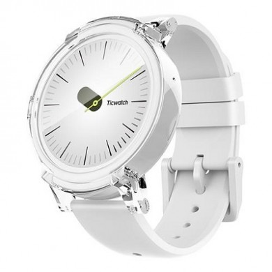 """Ticwatch  E by Mobvoi, Ice White, 1.4"""" OLED Touch Display, Wear OS by Google, 512MB/4GB, Time, Mic/Speaker for incoming calls, Heart Rate, Steps, Alarm, Distance Display, Average Daily Steps, Weather, Notifications, IP67, 48Hrs+, BT4.1, 41.5g"""
