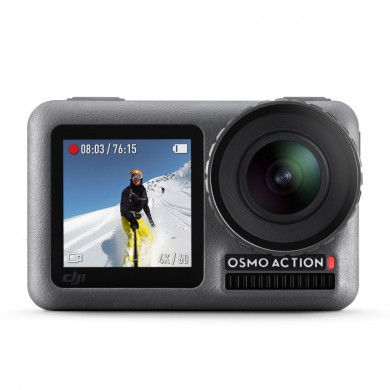 """(186899) Action Camera DJI OSMO Action, 1/2.3"""" CMOS, 12MP, 145° f/2.8, ISO 100-3200, 4K 60fps / FHD 240 fps, SlowMo, HDR, Timelapse, Max Video Bitrade 100Mbps,  microSD, Wi-Fi, Bluetooth 4.2, Front Screen 1.4 inch, Back Screen 2.25 inch,1300 mAh,124g"""
