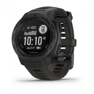 GARMIN Instinct, Graphite, Military standard 810G for thermal, Water rating 10ATM, GPS, Compass, barometric altimeter, Battery life Smart mode: Up to 2 weeks, up to 16 hours in GPS, 52g