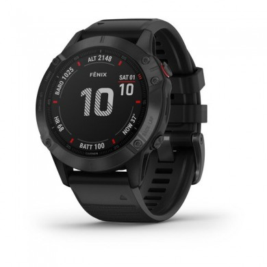 """GARMIN fenix 6 Pro Sapphire Carbon Gray DLC with Black Band, Multisport GPS Watch for Sport, 1.3"""", Water rating 10ATM, 32GB, GPS, Compass, Bluetooth, Smart, ANT+, Wifi, Smart notifications and Activity Tracking Features, Battery up to 80 days, 72g"""