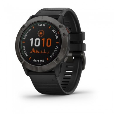 """GARMIN fenix 6X Pro Sapphire with Black Band, Multisport GPS Watch for Sport, 1.4"""", Water rating 10ATM, 32GB, GPS, Compass, Bluetooth, Smart, ANT+, Wifi, Smart notifications and Activity Tracking Features, Battery up to 80 days, 93g"""
