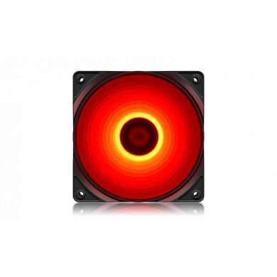 "120mm Case Fan  - DEEPCOOL ""RF120R"" RED LED Fans, 120x120x25mm, 500-1500rpm, 21.9dBa, 48.9 CFM, 3-pin & 4-pin Peripheral"