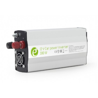 EnerGenie EG-PWC-042, 12V Car power inverter, 300W, with USB port / 5V-2.1A,  Power output: 300 W continuous power (peak power 600 W), Output: 230 VAC, Input: 11-15 VDC (car cigarette lighter or accumulator directly)