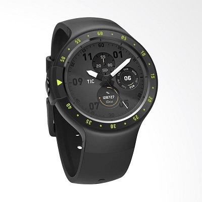 """Ticwatch  S by Mobvoi, Knight Black, 1.4"""" OLED Touch Display, Wear OS by Google, 512MB/4GB, GPS, Time, Mic/Speaker for incoming calls, Heart Rate, Steps, Alarm, Distance Display, Average Daily Steps, Weather, Notifications, IP67, 48Hrs+, BT4.1, 45.5g"""